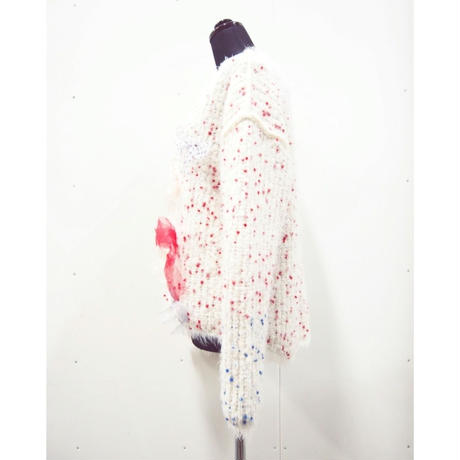 Pon pom fur ribbon mix < WHITE ×RED dots >