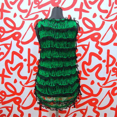 Frilled Lace Sleeveless < Black  /  Green >