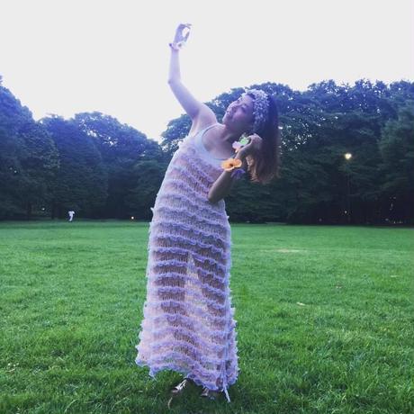 Furi Furi Lace Long Cami dress <PNK>