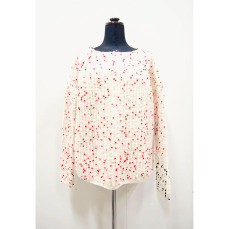 Pom Pon knit< WHITE×Red dots / WHITE×Red&Black dots  >