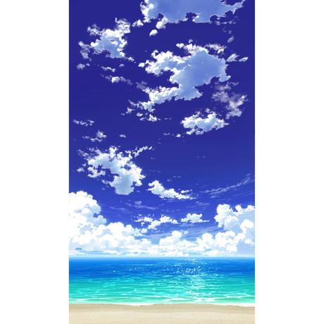 【イラスト背景】【合作】青空_縦PAN用01_海06