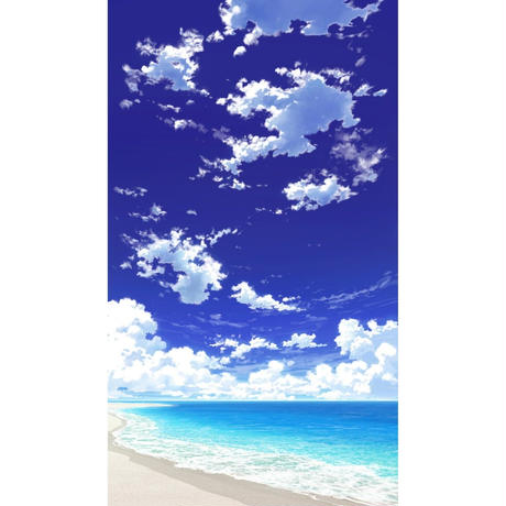 【イラスト背景】【合作】青空_縦PAN用01_海10