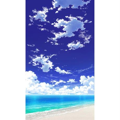 【イラスト背景】【合作】青空_縦PAN用01_海09