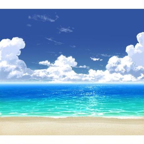 【イラスト背景】【合作】時差入道雲03_海06