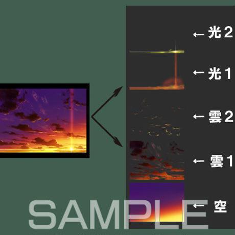 素材_夕日背景01