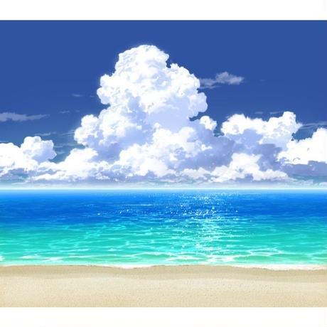 【イラスト背景】【合作】時差入道雲02_海06