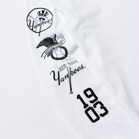 NEWERA LS COTTON TEE NEWYORK YANKEES MULTI LOGO WHITE