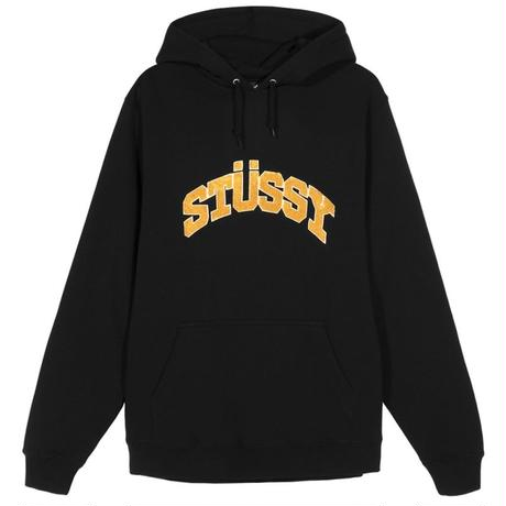 STUSSY  CHENILLE ARCH APPLIQUE HOOD BLACK