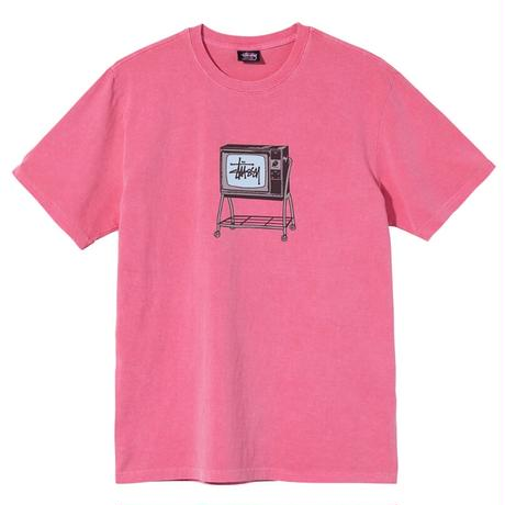 STUSSY ROLLING TV PIGMENT DYED TEE PINK