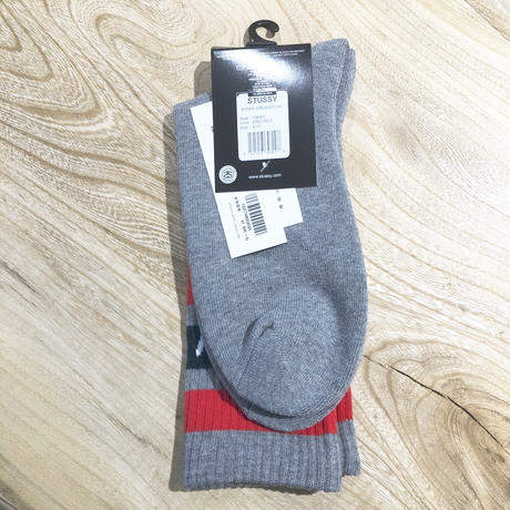 Stussy STRIPE CREW SOCKS GREY RED