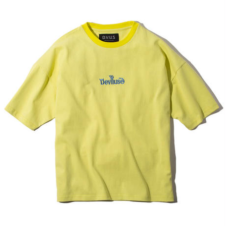 Deviluse Logo Embroidered Big T-shirts Ice Yellow