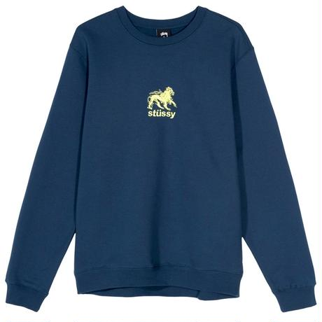 STUSSY LION APPLIQUE CREW NAVY