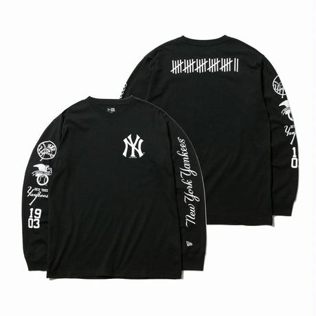 NEWERA LS COTTON TEE NEWYORK YANKEES MULTI LOGO BLACK