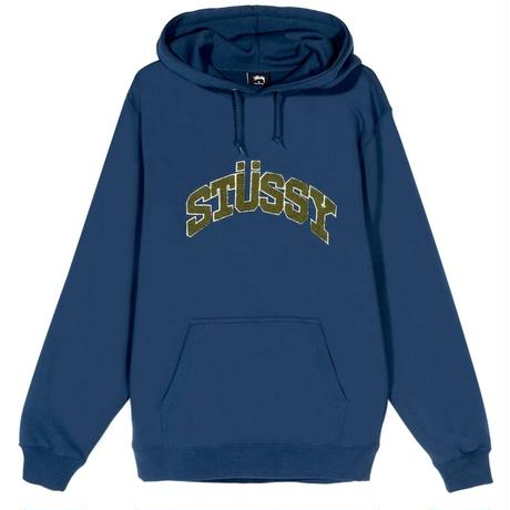 STUSSY  CHENILLE ARCH APPLIQUE HOOD NAVY