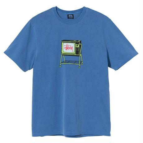 STUSSY ROLLING TV PIGMENT DYED TEE BLUE