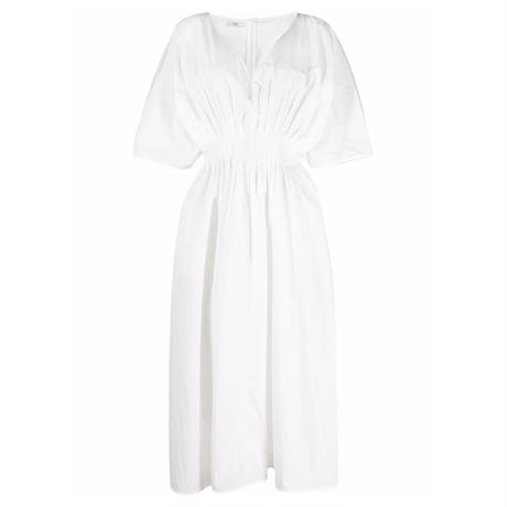 CO  TUCKED WAIST V NECK DRESS WHITE