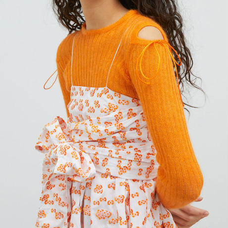 CECILIE BAHNSEN DRESS WITH WRAPPED BANDEU MONARCH ORANGE