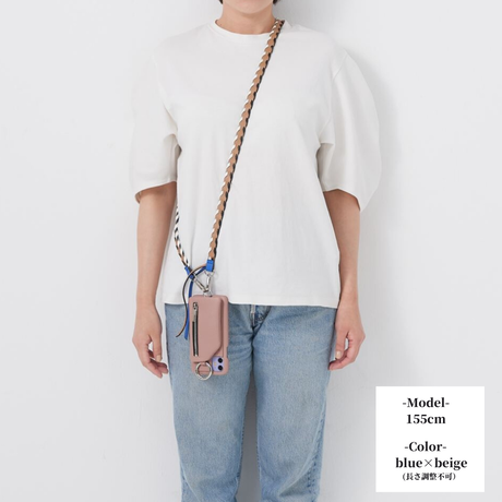 ajew  Design color shoulder  BLUE×BEIGE