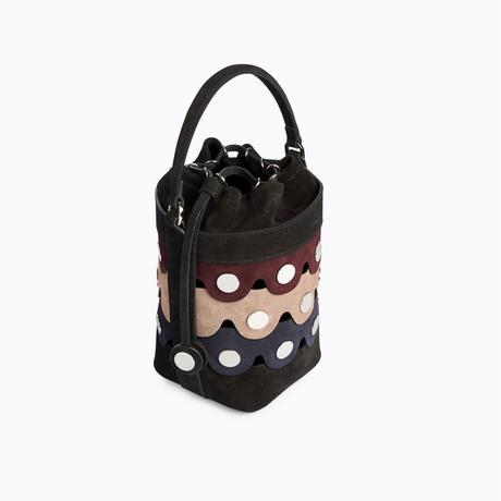 PIERRE HARDY PENNY BUCKET BAG  MULTI-BLACK-BURGUNDY