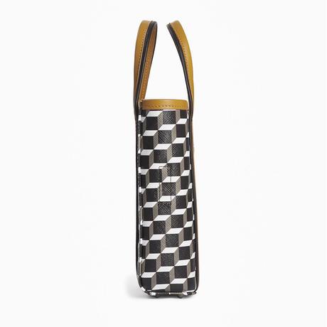 PIERRE  HARDY MINI SLIM CUBE BAG  BLACK/WHITE/CAMEL