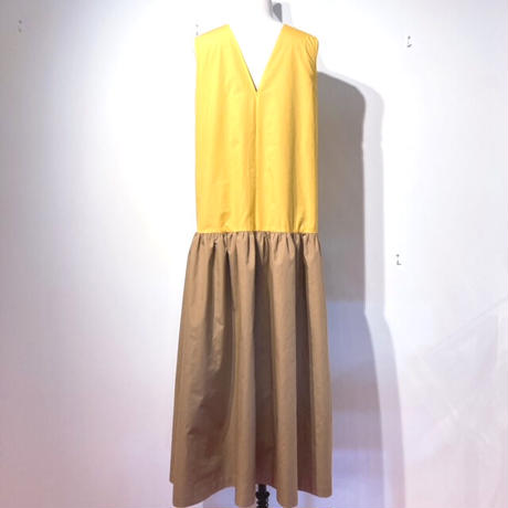 LES YEUX    REVERSIBLE DRESS BROWN×YELLOW/ BEIGE