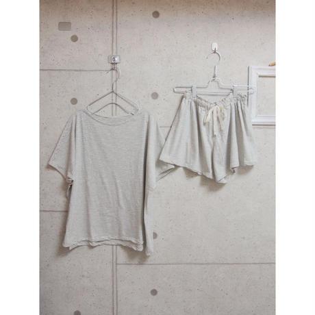 受注発注【8月末〜9月上旬発送】ボーダーT shirt+shortpants set ボーダー黒