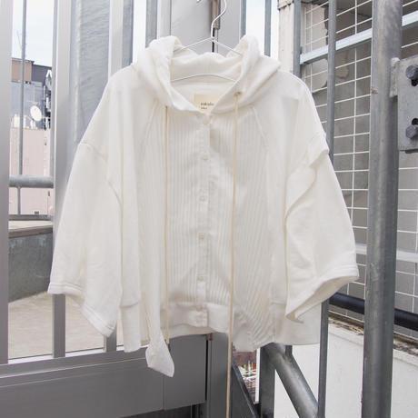 五分袖ver 無機質の中のぬくもりパーカー white