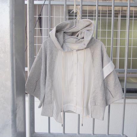 五分袖ver 無機質の中のぬくもりパーカー gray