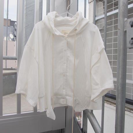 五分袖ver【4月上旬発送予定】無機質の中のぬくもりパーカー white