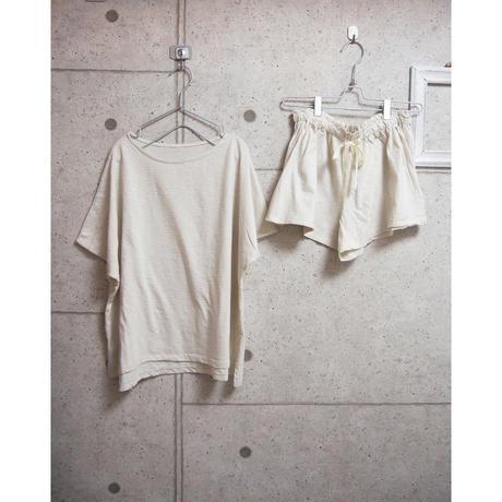 受注発注【8月末〜9月上旬発送】ボーダーT shirt+shortpants set オフホワイト