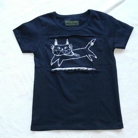 COTTON 100% 3Dプリント ネコさん UネックTシャツ(KIDS)