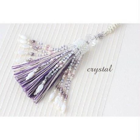 帯飾り*クリスタル beige/purple