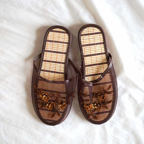 【Select Item】Mesh Beads Sandals -Brown-