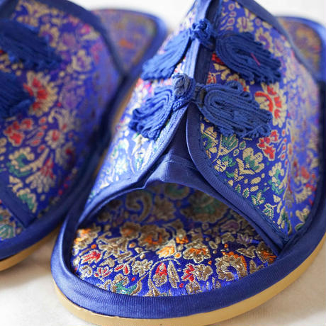 【Select Item】China Pattern Slippers -Blue-