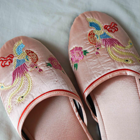 【Select Item】Satin Embroidery Slippers -Pink-