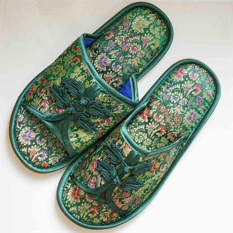 【Select Item】China Pattern Slippers -Green-