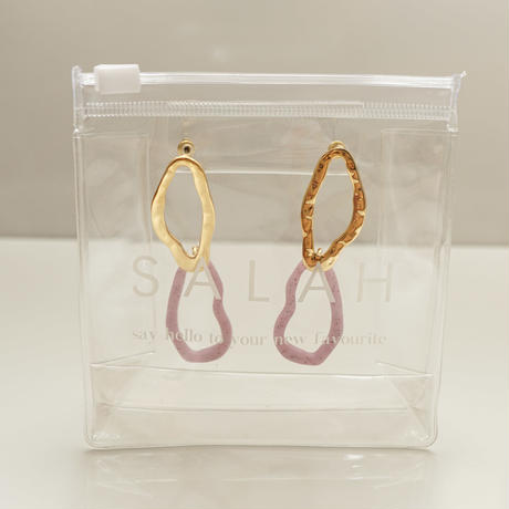 Double Hoop Pierce -Pink-  (14K Gold Plated)