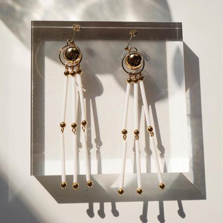 Beads Tassel Pierce & Earring -White-