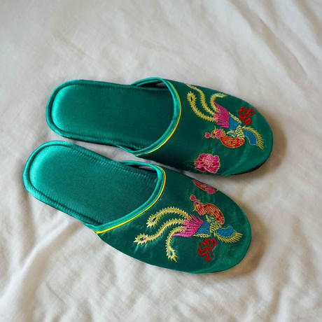 【Select Item】Satin Embroidery Slippers -Green-