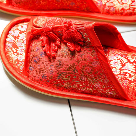 【Select Item】China Pattern Slippers -Red-