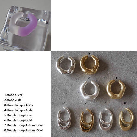 Purple×Clear & Metal Earcuff Set