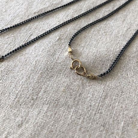 Ishi jewelry / gold medal  with oxidized silver necklace / イシジュエリー