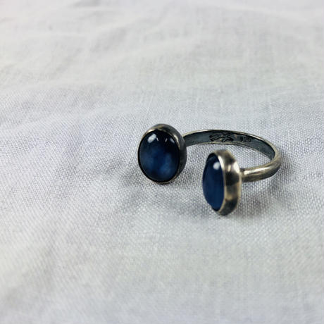 ishi jewelry /silver  ring encotarado kyanite / イシジュエリー/ ダブルストーンシルバーリング/ カイヤナイト