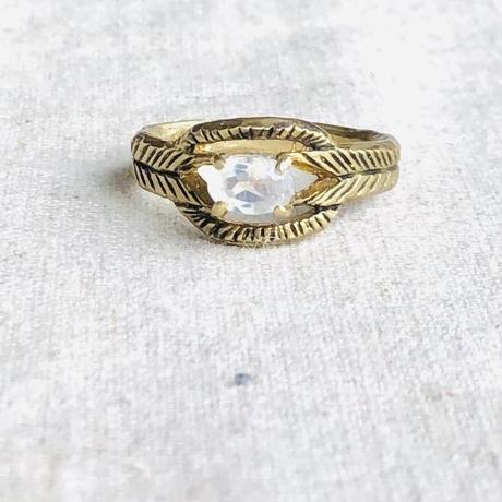datter industry / moonstone deco ring / brass / ダッターインダストリー /天然石リング /ムーンストーン