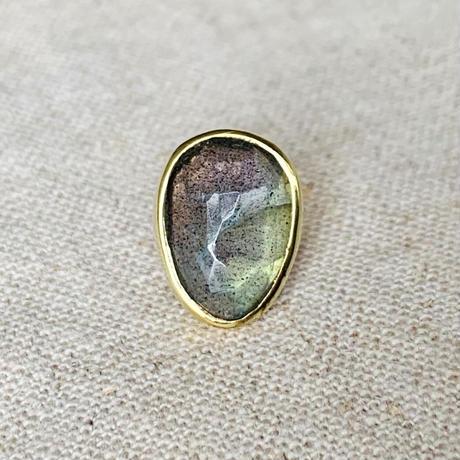 ishi jewelry / earring sencillo / Moss Aquamarine  / brass bezel / イシ ジュエリー / ブラス片耳ピアス
