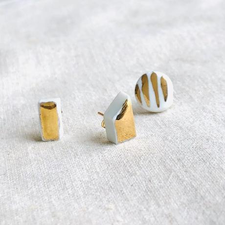 jujumade /porcelain stripe gold glazed earring /ジュジュメイド/ポーセリン(陶磁器)/片耳ピアス