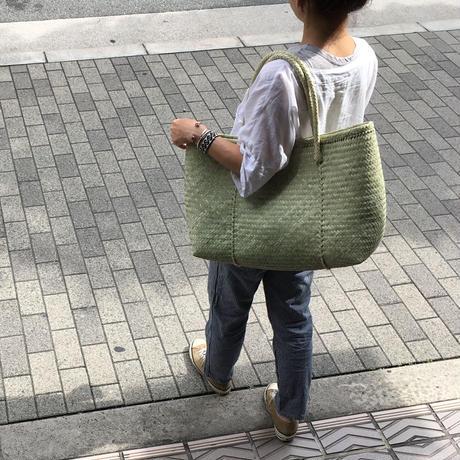 pips / palm leaf basket tote green /ピップス/ パームリーフバスケットバッグ/ グリーン