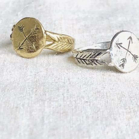 datter industry / crossed arrows  signet ring / brass /ダッターインダストリー /真鍮リング