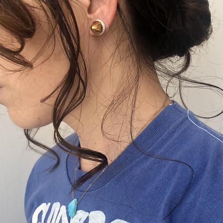 juju made /porcelain dumbbell  earring gold glazed /ジュジュメイド(陶磁器)/ ポーセリン/ 片耳ピアス