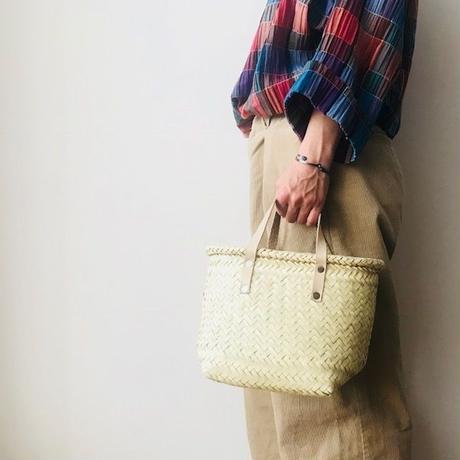 pips /  palm leaf basket tote bag with leather handle / natural  / ピップス/ パームリーフバスケットバッグ/ナチュラル
